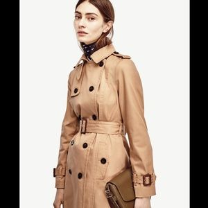 ANN TAYLOR PETITES Tan Classic Long Trench